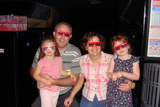 Chloe, Grampa H, Gramma H and Norah 3D-ing it up