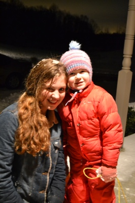 Aunt Lydia and Norah after some night-time sledding