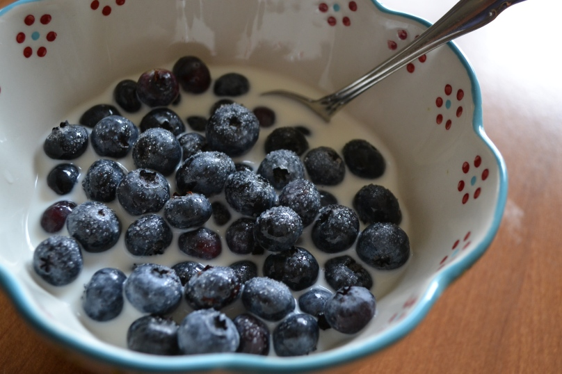 My favorite way to eat blueberries...with milk and a little sugar.